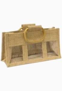 3 jar hessian gift bag with windows